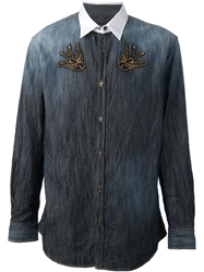 Dsquared2 Swallow Embroidered Denim Shirt Blue