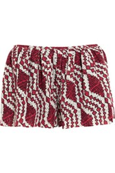 Thakoon Addition Printed Broderie Anglaise Cotton Shorts Pink