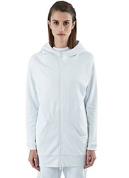 Y 3 Long Zip Up Hooded Sweater White