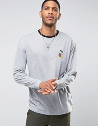 Asos Mickey Mouse Retro Oversized Long Sleeve T Shirt With Ringer Grey Green