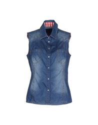 Ermanno Scervino Beachwear Denim Shirts Blue