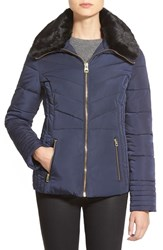 Women's Guess Faux Fur Collar Quilted Jacket Indigo