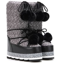 Dolce And Gabbana Fur Trimmed Herringbone Platform Snow Boots Black