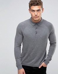 United Colors Of Benetton Cashmere Blend Long Sleeve Knitted Polo Mid Grey 507