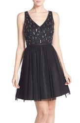 Women's Adrianna Papell Beaded Tulle Party Dress Black