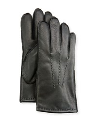 Ugg Three Point Stitch Leather Gloves Black