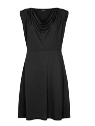 Hotsquash Knee Length Cowl Dress In Coolfresh Black
