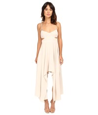 Halston Scoop Neck Dress With High Low Hem Oyster Women's Dress Beige