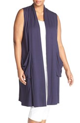 Plus Size Women's Eileen Fisher Stand Collar Jersey Long Vest