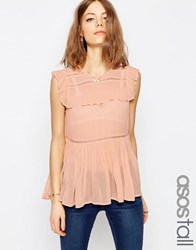 Asos Tall Sleeveless Tiered Ruffle Blouse With Lace Inserts Blush