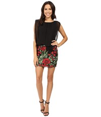Aidan Mattox Chiffon Blouson W Embroidered Skirt Red Multi Women's Skirt