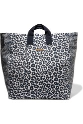 Stella Mccartney Printed Cotton Canvas Tote Midnight Blue