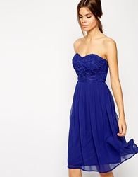 Elise Ryan Bandeau Midi Prom Dress With Cornelli Bodice Cobalt