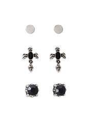 Forever 21 Etched Faux Stone Stud Set Silver Black