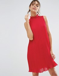 Asos Sleeveless High Neck Pleated Swing Dress Red Pink