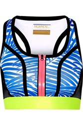Monreal London Signature Printed Stretch Jersey And Mesh Sports Bra