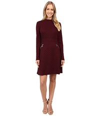 Maggy London Diamond Knit Jacquard Fit And Flare Dry Cherry Women's Dress Brown