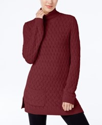 Jeanne Pierre Cable Knit Fisherman Tunic Sweater Port Royal