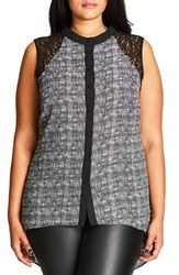 City Chic Plus Size Women's Lace Inset Graphic Print Sleeveless Top