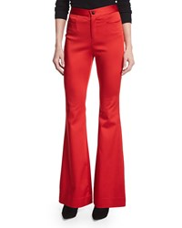 Zac Posen High Waist Flare Leg Trousers Scarlet Red