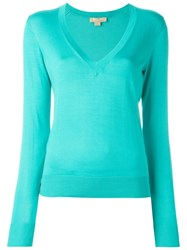 Michael Kors Short Sleeved V Neck Sweater Blue