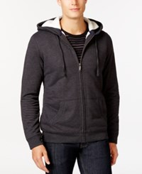 Club Room Sherpa Lined Fleece Hoodie Only At Macy's Charcoal Heather
