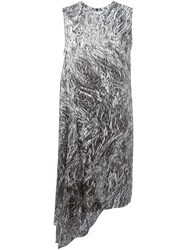 Mcq By Alexander Mcqueen Silver Foil Print Dress