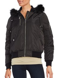 French Connection Faux Fur Trim Hooded Bomber Jacket Black