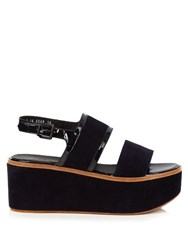 Robert Clergerie Flavie Suede Flatform Sandals Navy