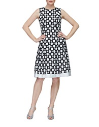 Carmen Marc Valvo Dot Print Pleated Fit And Flare Dress Black Ivory