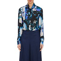 Maison Martin Margiela Women's Abstract Print Chiffon Blouse Blue