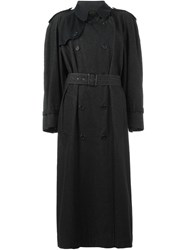 Yves Saint Laurent Vintage Long Trench Coat Black