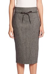 Brunello Cucinelli Chevron Tweed Front Slit Skirt Onyx