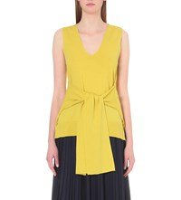 Whistles Tie Front Sleeveless Knitted Jumper Yellow