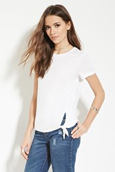 Forever 21 Contemporary Knotted Hem Tee White