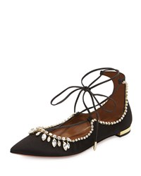 Aquazzura Christy Jeweled Lace Up Flat Black
