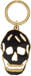 Alexander Mcqueen Black And Gold Cut Out Skull Keychain