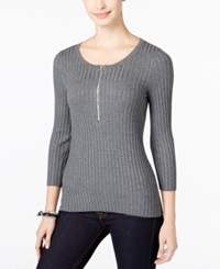 Inc International Concepts Petite Zip Up Ribbed Sweater Only At Macy's Medium Grey Heather