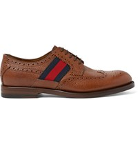 Gucci Webbing Trimmed Pebble Grain Leather Wingtip Brogues Tan