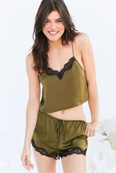 Out From Under Quincy Satin Cami Green