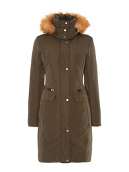 Andrew Marc New York Long Padded Coat With Matte Finish Green