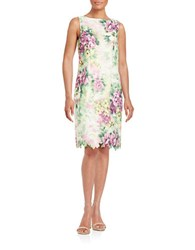 Chetta B Scalloped Floral Sheath Dress White Multi