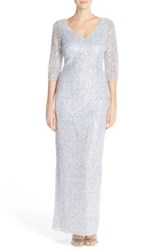 Kay Unger V Neck Sequined Cowl Gown White