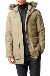 Men's Topman Heavyweight Hooded Fishtail Parka With Faux Fur Trim