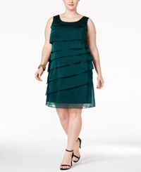 Connected Plus Size Tiered Shift Dress Green