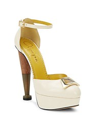 Charlotte Olympia Tapered Leather Platform Pumps Soft White