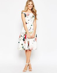 Asos Off The Shoulder Midi Prom Dress In Botanical Floral Multi
