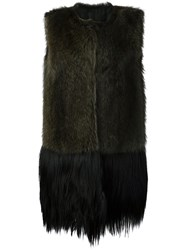 Vera Wang Raccoon Fur Gilet Brown
