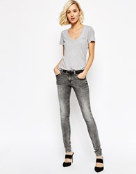 Selected Roberta Low Waist Washed Black Skinny Jeans