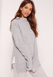 Missguided Side Split High Neck Jumper Grey